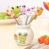 Fruit Fork, Cute Set of 6 Fruit Forks with Holder Stainless Steel Food Pick Forks for Kids Home (Mix Animal)