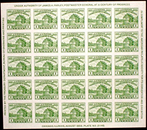 (USPS American Philatelic Society Issue of 1933 - 25 x 1 Cent Stamps Souvenir Sheet Scott 730)