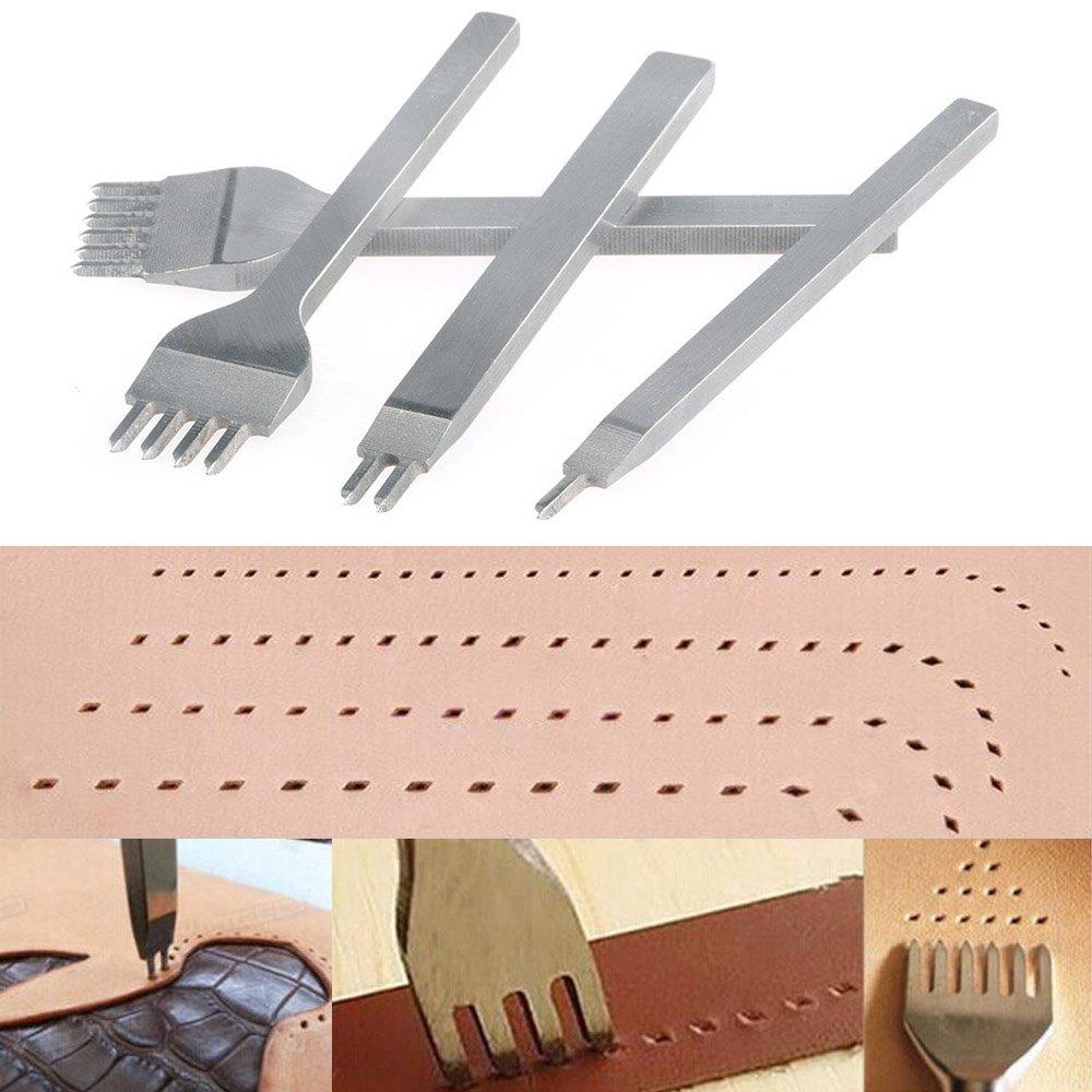 Juego de Perforadores de Cuero de 1+2+4+6 Puntas-4mm Tenedores para Coser Cuero Malayas Perforadoras Herramientas Artesanales Costura Herramientas de Cuero para Marcar Puntadas