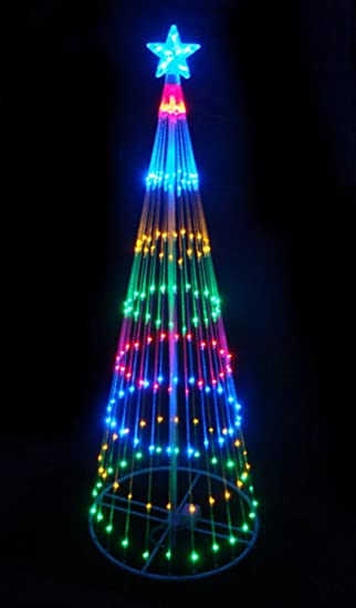 lb international 6 multi color led light show cone christmas tree lighted yard art