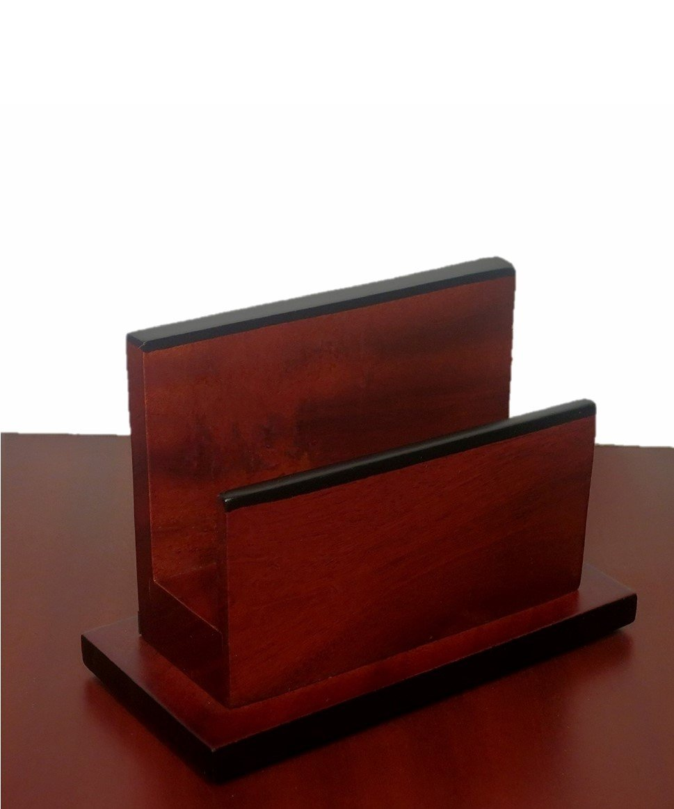 Genuine Mahogany Wooden Envelope Letter Holder Office Decor