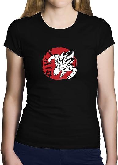 OKAPY Camiseta Vegeta. Una Camiseta de Mujer con Vegeta de Dragon Ball. Camiseta Friki de Color Negra: Amazon.es: Ropa y accesorios