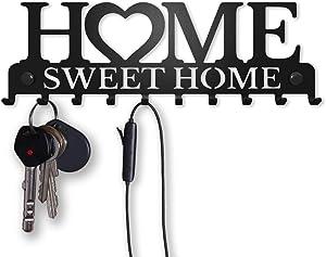 Key Holder for Wall Mount Sweet Home Organizer (10-Hook Rack) Decorative, Metal Hanger for Front Door, Kitchen   Store House, Work, Car, Vehicle Keys   Vintage Decor