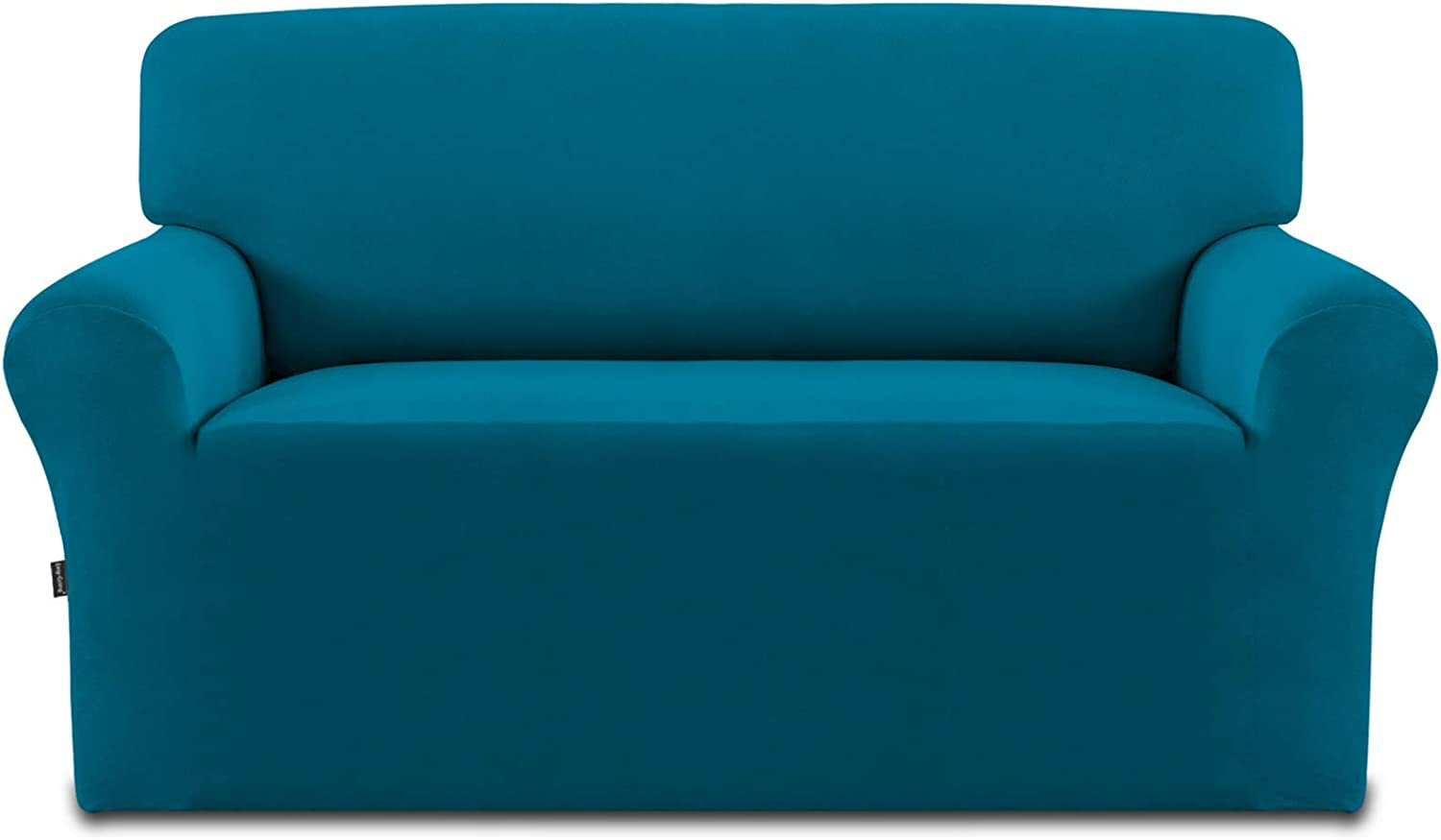 Easy-Going Fleece Stretch Sofa Slipcover – Spandex Non-Slip Soft Couch Sofa Cover, Washable Furniture Protector with Anti-Skid Foam and Elastic Bottom for Kids, Pets(Loveseat,Peacock Blue)