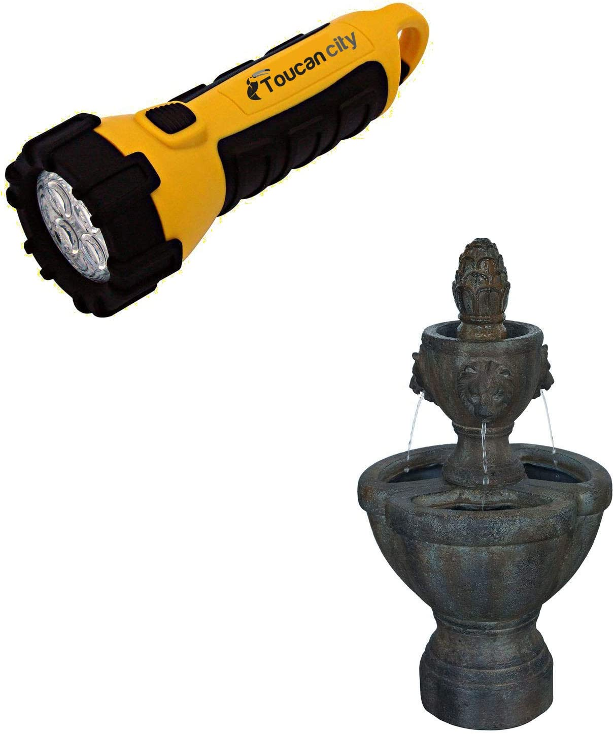 Toucan City LED Flashlight and Pure Garden 32 in. Lion Head Fountain 50-0005