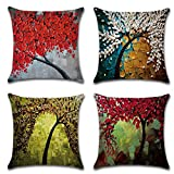 Calcifer 18 x18 Inch (45x45cm) Oil Painting Tree Durable Cotton Linen Throw Pillows Sheel Case Cushion Covers For Home Sofa Decorative (Set of 4)