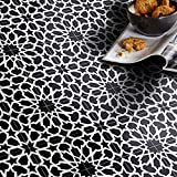 Moroccan Mosaic & Tile House CTP40-01 Bahja 8''x8'' Handmade Cement Black/White (Pack of 12)