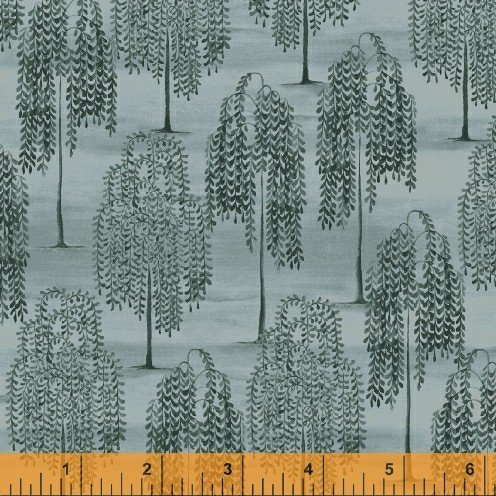 Windham Fabrics Country Store Cotton Quilting Fabric by Betty Caithness 41276-1 Weeping Willow Trees - Blue