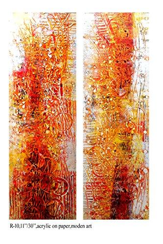(Pooja ki Potli Untitled- R-10 Original Modern Art Acrylic Painting on Handmade paper-Set of 2- Home Décor- Interior Décor 11
