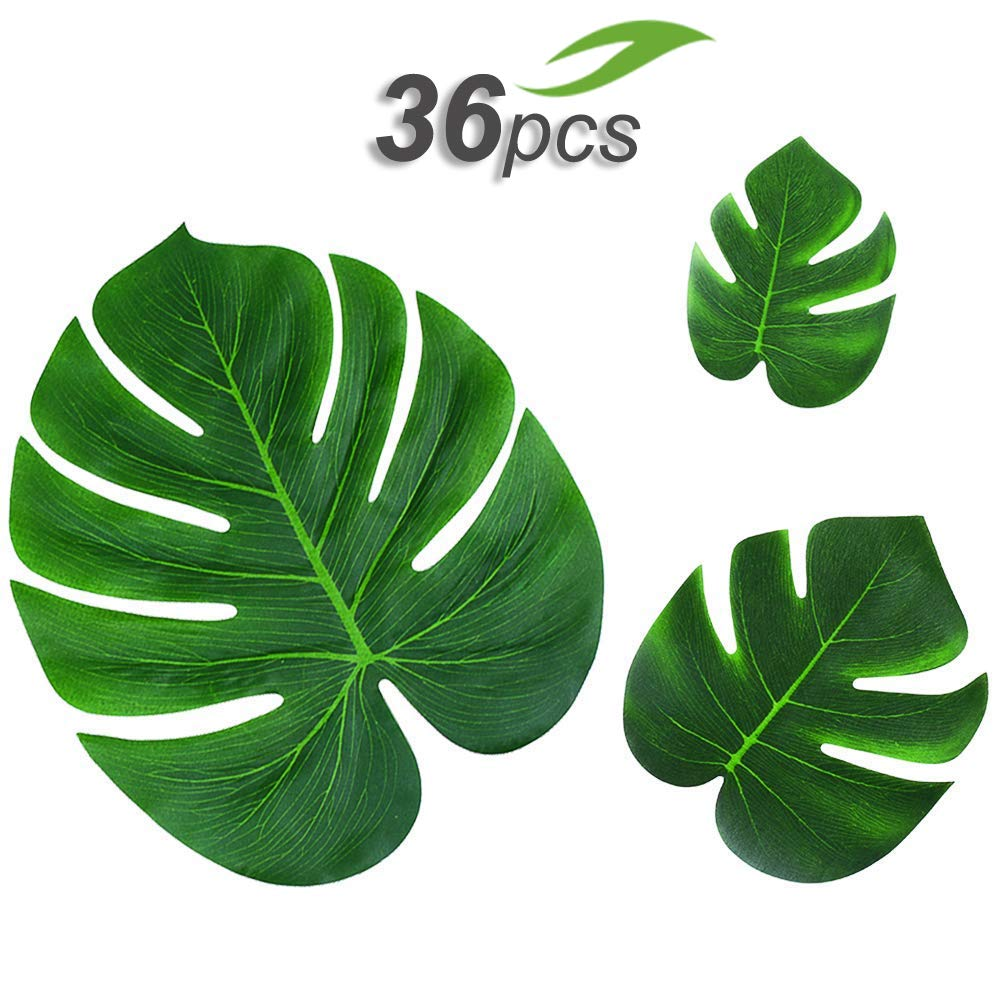 36pcs Tropical Palm Leaves Hawaiian Luau Party Decorations Artificial Leaves Garland Decor Leaf Placemats Impress Your Big Day by Gooidea