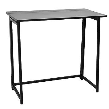 Escritorio plegable de madera compacto - portátil ordenador espacio de trabajo, Marco negro, parte superior negro: Amazon.es: Juguetes y juegos