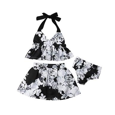 6dbb596177e23 Amazon.com: Toddler Baby Girl Floral Halter Tops Skirts Sets ...