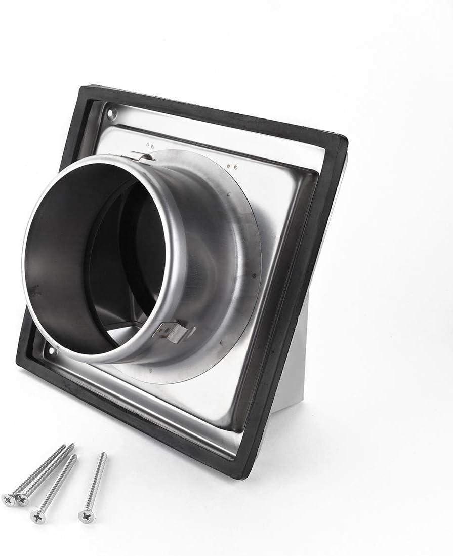 Rejilla de ventilación de pared con capucha de 125 mm a 5 pulgadas con ventilación de aire de pared con ventilación de acero inoxidable para ventilador de baño o extractor de cocina