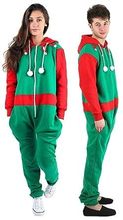 cfb0f7793b8 Unisex Kids Christmas Santa Elf All in One Hooded Novelty Mens Womens  Onesie Jumpsuit (9