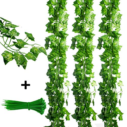 (KASZOO 84Ft 12 Pack Artificial Ivy Garland Fake Plants, Vine Hanging Garland, Hanging for Home Kitchen Garden Office Wedding Wall Decor, Green)