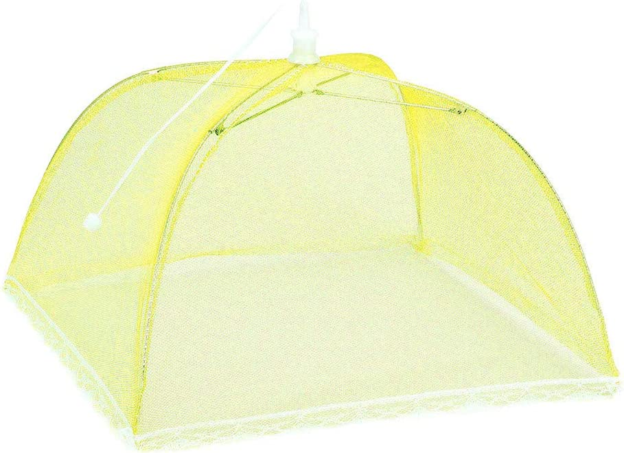 Fewear Pop-Up Mesh Screen Food Cover Tents, Collapsible and Reusable Indoor Outdoor Picnic Dome Food Net Tent Umbrella Protect Food and Fruit from Flies, Mosquitoes and Bugs (Yellow)