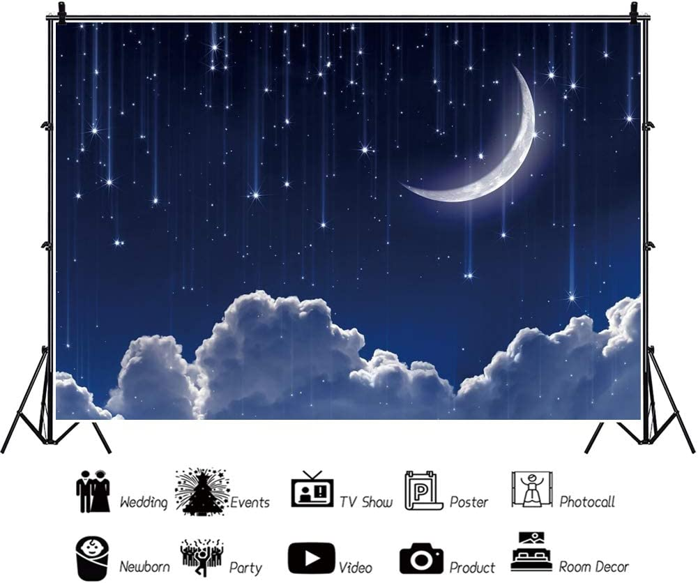 5x5FT Vinyl Backdrop Photographer,Sun and Moon,Tribal Motif Celestial Background for Baby Birthday Party Wedding Studio Props Photography