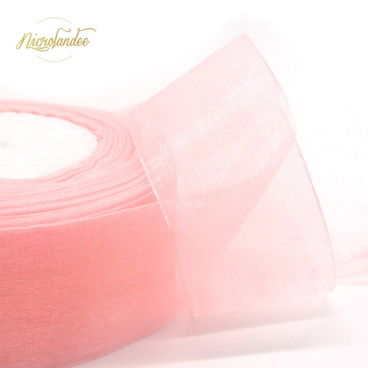 NICROLANDEE 3pcs Sheer Chiffon Ribbon 1.5Inch×49 Yards Dusty Rose Fading Ribbon Set for Wedding Gift Package Valentines Bouquets Wrapping Birthday Baby Shower Home Decor Wreath Decorations Fabric by NICROLANDEE (Image #6)