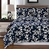 Luxury 3pc - Lucy - Navy with White- King/Calking Duvet cover set 100% Cotton 300 thread count fiber reactive prints duvet set By sheetsnthings