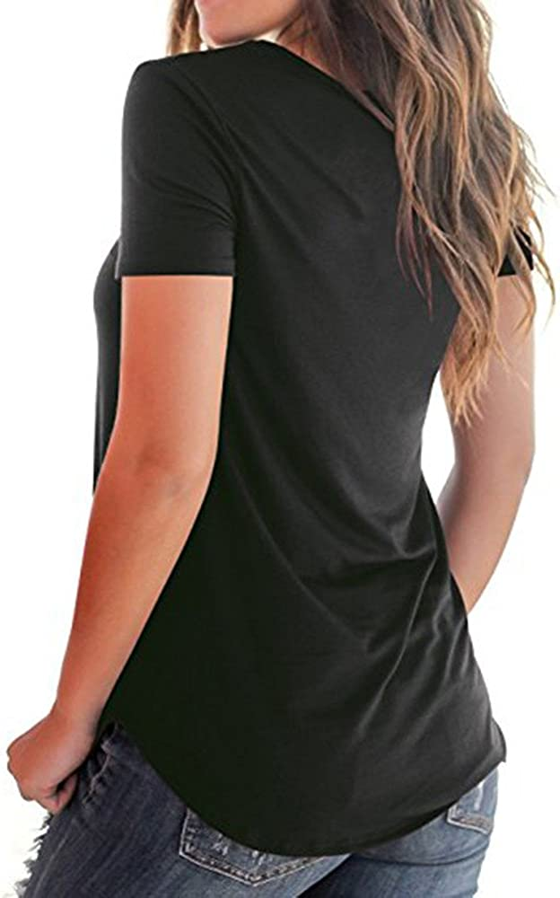 Shakel Womens Casual Short Sleeve Solid Criss Cross Front V-Neck T-Shirt Tops