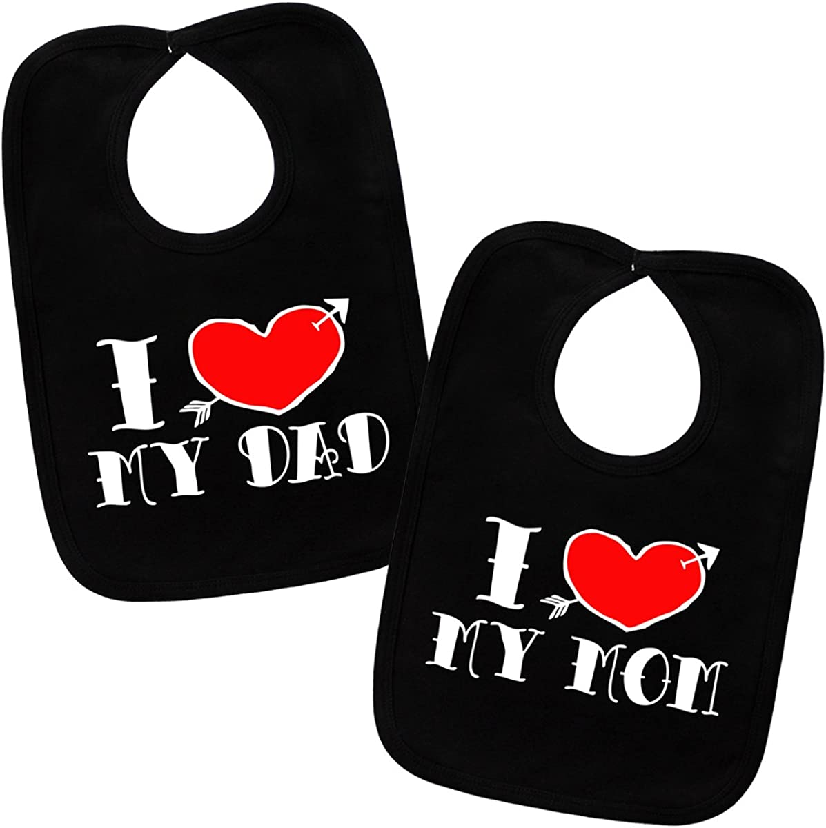 Amazon Com I Love My Mom Dad Tattoo 2 Bib Gift Set One Size Clothing