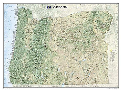 National Geographic: Oregon Wall Map - Laminated (40.5 x 30.25 inches) (National Geographic Reference Map)