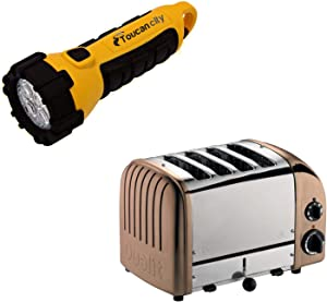 Toucan City LED Flashlight and Dualit New Gen 4-Slice Copper Wide Slot Toaster with Crumb Tray 47440