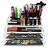 Makeup Organizer Jewelry Acrylic Case | For Lipstick Nail Polish Brushes Cosmetic Beauty Products | 3 Drawers Storage Display Box Holder By Clear Acrylics