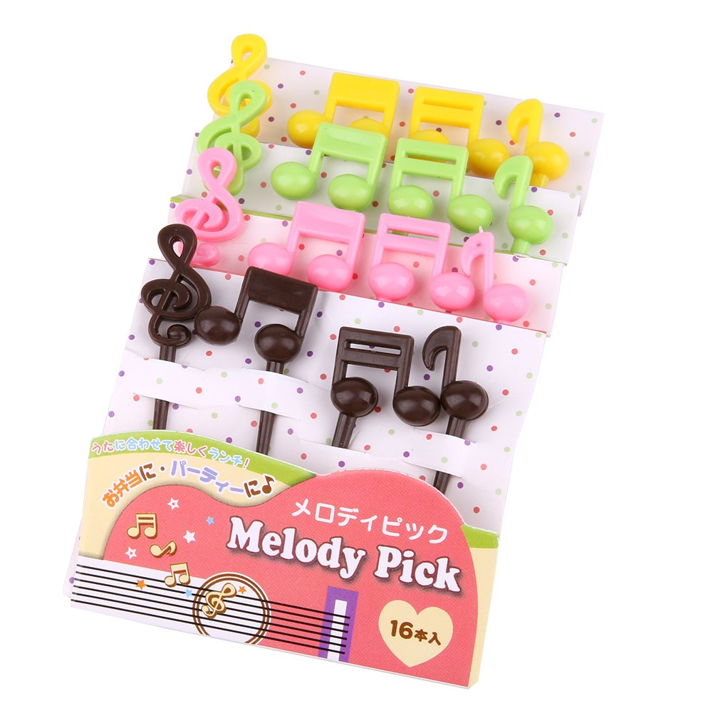 Funnytoday365 16Pcs/Pack Musical Note Shape Fruit Fork Mini Cartoon Children Snack Cake Dessert Food Fruit Pick Toothpick Bento Lunches Party