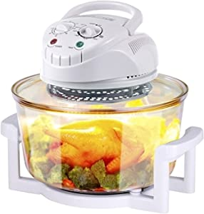 QHKY Air Fryer Toaster Oven, 1300W 12L Electric Transparent Hot Air Fryer, Oven & Oilless Cooker Broil, Timer & Temperature Setting, Dehydrate, Slow Cook, Food Dehydrator (White)
