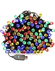 Decorative String Lights FULLBELL 72.2 Feet 200 LED Fairy Lights 5V USB Powered Supply with Multi Lighting Modes Controller for Chirstmas Birthday Party Wedding and Kid's Bedroom (Multi-Colored)
