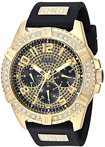 GUESS  Comfortable Gold-Tone Black Stain Resistant Silicone Watch with Crystal Embellished Day, Date + 24 Hour Military/Int'l Time. Color: Black (Model: U1132G1) (Guess Black Diamond Accent Watch)