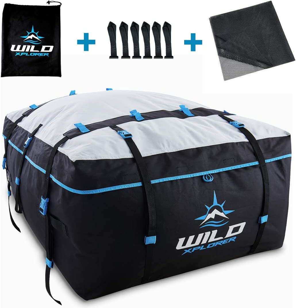 Rooftop Cargo Carrier Roof Bag XXL - 19 Cubic Feet Waterproof Car Top Carrier   Car Roof Cargo Carrier Works with OR Without Car Roof Rack - Rooftop Cargo Bag for Camping, Ski Trips and Vacations