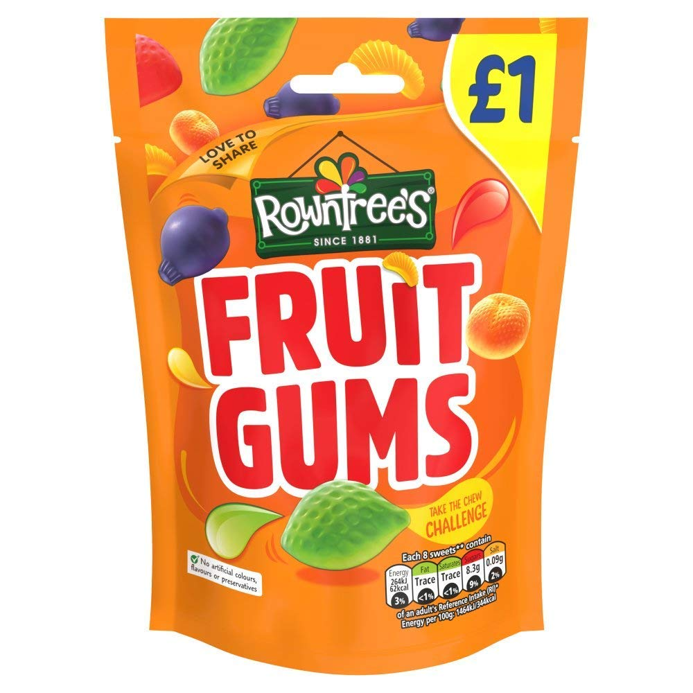 Rowntrees Fruit Gums 120g (Pack of 9)