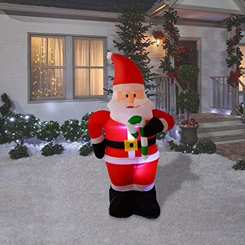 4 foot christmas inflatables airblown santa claus with candy cane xmas blow ups for home outdoor lawn yard decorations - Inflatable Christmas Lawn Decorations