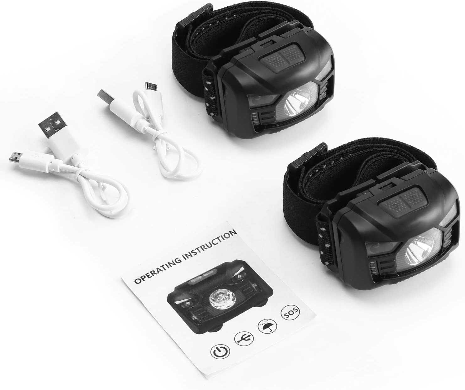 2 Pack of Rechargeable Headlamp, LED Headlamp, Head lamps for Adults, Flashlight with White Red Lights, USB Rechargeable Waterproof Head Lamp for Outdoor Camping Cycling Running Fishing - -