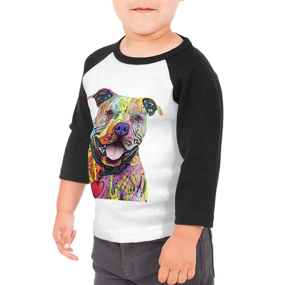 Manlee Pit Bull Painting Unisex 100/% Cotton Childrens 3//4 Sleeves T-Shirt Top Tees 2T~5//6T