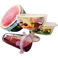 Veotore Silicone Stretch Lids, Reusable Plastic Wrap Alternative, 6-Pack Eco Friendly Food Storage Covers, Clear Color