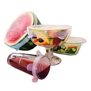 Silicone Stretch Lids, Reusable Plastic Wrap Alternative, 6-Pack Eco Friendly Food Storage Covers, Clear Color