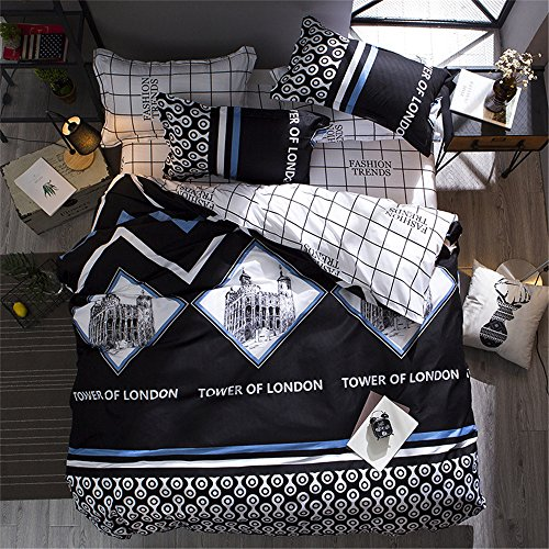 Twin Duvet Cover Lightweight Microfiber Bedding Set,Famous Architectures Designs,Reversible Tower of London Printing and Grid Design Duvet Cover Set for Boys Girls-Tower of London,Twin