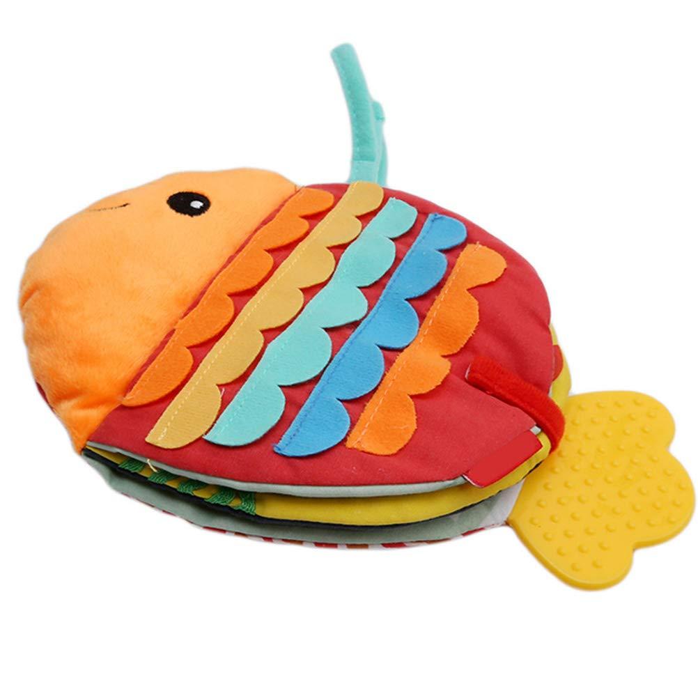 Pywee Soft Cartoon Fish Cloth Fun Book Juguetes para beb/és Desarrollo de Inteligencia BB Sonidos Newbron Cloth Book Rattle Toy