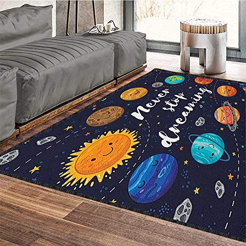 (Quote Colorful Area Rug,Outer Space Planets and Star Cluster Solar System Moon and Comets Sun Cosmos Illustration with No-Slip pad Multi 71
