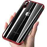 iPhone X Case, COOLQO [Support Wireless Charging] Ultra-thin Crystal Clear Soft Flexible TPU Bumper Slim Electroplating Transparent Protective Cover & Skin For Apple iPhone 10/X 5.8 inch (Red)