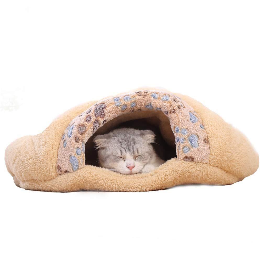 Small Jjek Pet Nest, Four Seasons Universal Pet Winter Warm Kittens Sleeping Bag Cat Hole Comfortable Sleep (brown, 60x50x16cm) Medium (Size   Small)