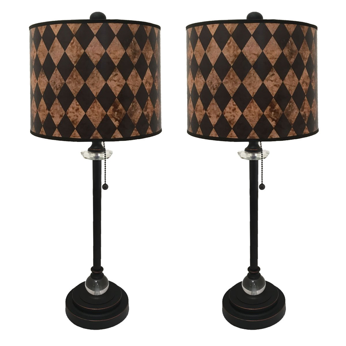 Royal Designs 28'' Crystal and Oil Rub Bronze Buffet Lamp with Vertical Black Diamond on Papyrus Design Hard Back Lamp Shade, Set of 2