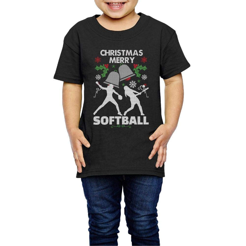 Merry Christmas Softball 2-6 Years Old Boys /& Girls Short-Sleeved Tee Shirt