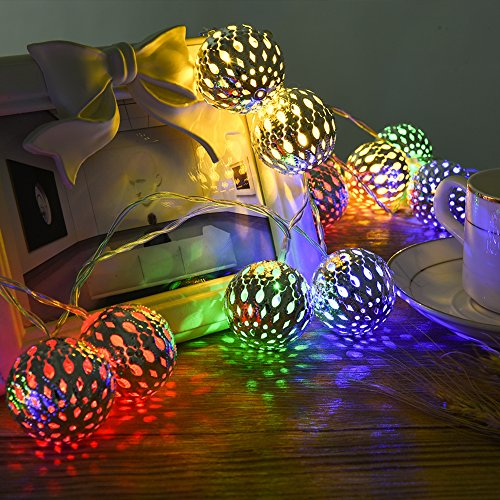 LEDGLE 20 LED Silver Moroccan Orb String Light Decorative LED Silver Moroccan Orb Fairy Light Multicolor LED Fairy String Light, 8 Lighting Modes, IP65 Waterproof, Wireless Remote Controller