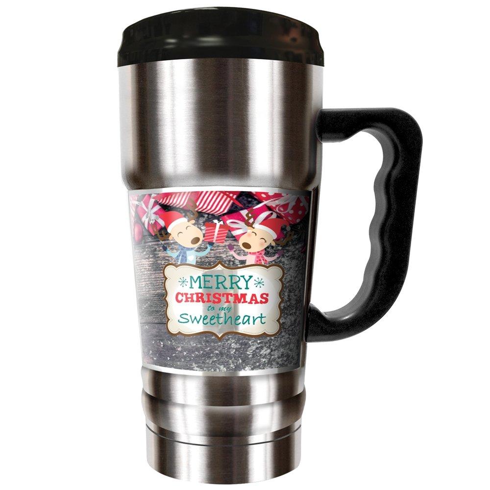 Merry Christmas, Sweetheart (Woodgrain) - 20oz Vacuum Insulated Travel Mug
