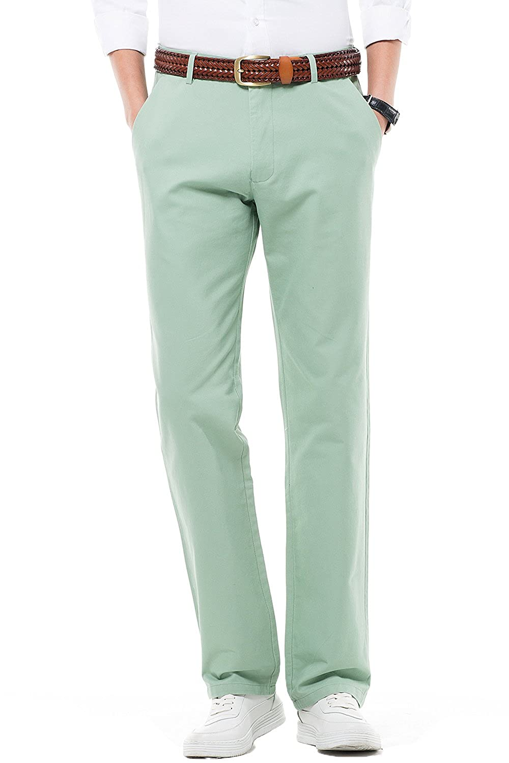 FLY HAWK Mens Stretchy Regular Fit Flat Front Casual Pants Straight Leg Work Pants Dress Trousers, 18 Colors for Choice HM03131-HRS