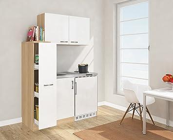 Miniküche Mit Kühlschrank 130 Cm : Respekta mini küche singleküche cm inkl oberschrank eiche